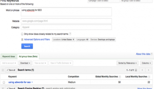 Adwords Screen